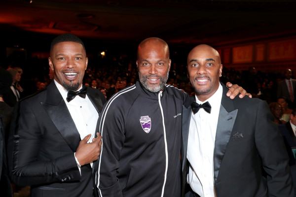 BET Presents The 51st NAACP Image Awards - Show [event,fashion,suit,formal wear,guest,jamie foxx,chris spencer,bet presents the 51st naacp image awards,l-r,pasadena civic auditorium,california,bet,show,public relations,tuxedo m.,tuxedo,socialite,public,event]