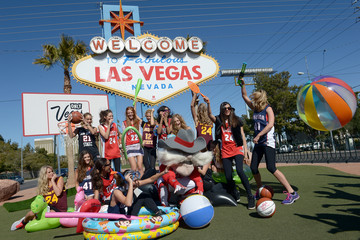 Chrissy Teigen Nina Agdal LVCVA And Sports Illustrated Models Support NCAA Basketball Conference Championship At Historic Las Vegas Sign