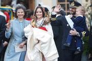 (L-R) Queen Silvia of Sweden, Prince Gabriel of Sweden, Duke of Dalarna held by Princess Sofia of Sweden and Prince Carl Philip holding Prince Alexander, Duke of Sodermanland attend the christening of Prince Gabriel of Sweden at Drottningholm Palace Chapel on December 1, 2017 in Stockholm, Sweden.