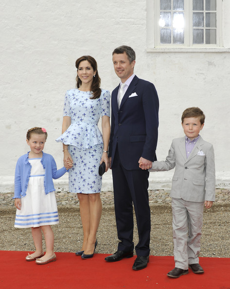 Crown Prince Frederik of Denmark, Crown Princess Mary of Denmark, Princess Isabella and Prince Christian attend the christening of Princess Athena of Denmark at Mogeltonder Church on May 20, 2012 in Tonder, Denmark.