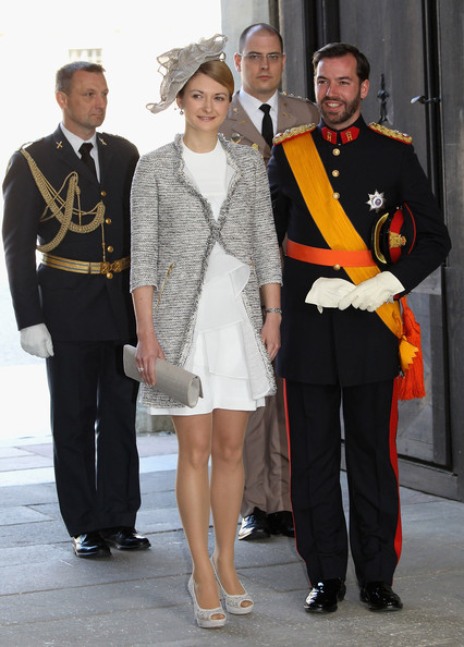 Prince Guillaume of Luxembourg and Stephanie de Lannoy attend the christening of  new Swedish heir to the throne Princess Estelle Silvia Ewa Mary of Sweden at The Royal Palace on May 22, 2012 in Stockholm, Sweden.