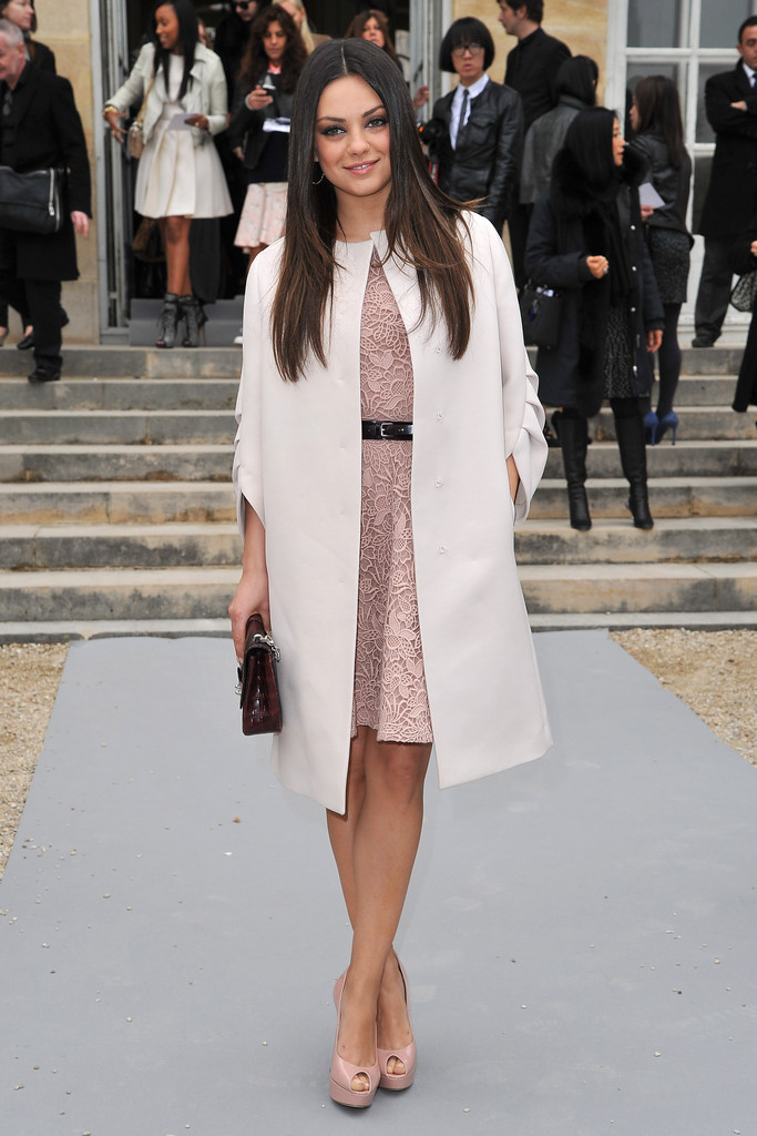 Mila+Kunis in Christian Dior: Garden Arrivals - Paris Fashion Week Womenswear Fall/Winter 2012