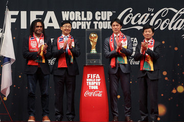 Christian Karembeu Hong Myung-Bo FIFA Brazil World Cup Trophy Tour
