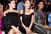 Rachel Bilson, Alexa Chung and Indya Moore attends the front row for Christian Siriano during New York Fashion Week: The Shows at Gallery I at Spring Studios on February 06, 2020 in New York City.