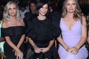 (L-R) Sarah Michelle Gellar, Lucy Liu and Alicia Silverstone attend the Christian Siriano Fashion Show at New York Fashion Week at Gotham Hall on September 07, 2019 in New York City.