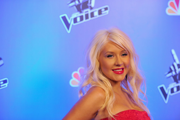 "Christina Aguilera Singer Christina Aguilera arrives at NBC's press conference for the their new Show ""The Voice"" on March 15, 2011 in Los Angeles, California."