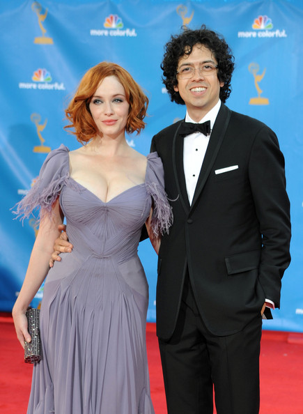 62nd Annual Primetime Emmy Awards - Arrivals [carpet,suit,formal wear,premiere,dress,event,red carpet,electric blue,flooring,smile,arrivals,christina hendricks,geoffrey arend,primetime emmy awards,california,los angeles,nokia theatre l.a. live,annual primetime emmy awards]