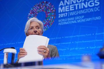 Christine Lagarde World Bank and IMF Chiefs Hold Briefings at World Bank-IMF Fall Meeting