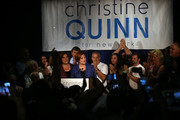 New York City Council Speaker Christine Quinn stands with her wife Kim Catullo (L) while giving her concession speech in the New York Democratic mayoral primary elections on September 10, 2013 in New York City. Quinn, who lead early in the polls and who was endorsed by all of New York's major newspapers, saw her lead slip away in the final weeks of the campaign. Quinn would have been the first woman and lesbian to hold the job of mayor.