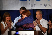 New York City Council Speaker Christine Quinn (R) is hugged by her wife Kim Catullo while giving her concession speech in the New York Democratic mayoral primary elections on September 10, 2013 in New York City. Quinn, who lead early in the polls and who was endorsed by all of New York's major newspapers, saw her lead slip away in the final weeks of the campaign. Quinn would have been the first woman and lesbian to hold the job of mayor.