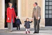 (L-R) Princess Charlene Of Monaco, Prince Jacques of Monaco, Princess Gabriella of Monaco and Prince Albert II of Monaco attend the annual Christmas gifts distribution at Monaco Palace on December 14, 2016 in Monaco, Monaco.