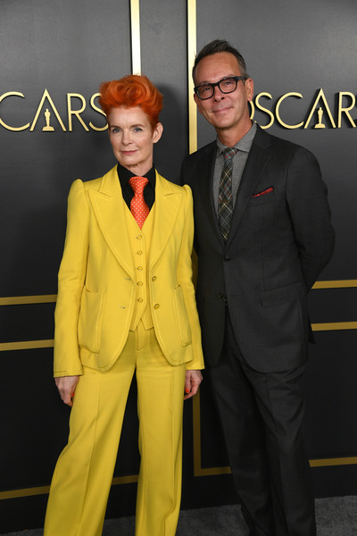 92nd Oscars Nominees Luncheon - Arrivals [suit,yellow,clothing,formal wear,premiere,fashion,pantsuit,outerwear,tuxedo,event,arrivals,nominees,christopher peterson,sandy powell,l-r,hollywood,california,oscars,oscars nominees luncheon,sandy powell,christopher peterson,hollywood,92nd academy awards,73rd british academy film awards,nomination,the young victoria,lunch,academy award for best costume design,celebrity]
