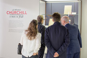 Gisele Schmidt, Actor Gary Oldman, Director Joe Wright and Michael Bishop Director, The National Churchill Library and Center at Churchill Library Meet and Greet - Darkest Hour Tour at National Churchill Library and Center on November 3, 2017 in Washington, DC.
