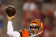 Quarterback Jason Campbell #17 of the Cincinnati Bengals throws a pass during the preseason NFL game against the Arizona Cardinals at the University of Phoenix Stadium on August 24, 2014 in Glendale, Arizona.