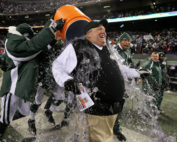 Rex Ryan Rex Ryan, Head Coach of the New York Jets, has Gatorade dumped on him by players at the end of the fourth quarter in celebration of their 37-0 victory over the Cincinnati Bengals at Giants Stadium on January 3, 2010 in East Rutherford, New Jersey.