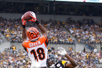 Ike Taylor Aj Green Cincinnati Bengals V Pittsburgh Steelers