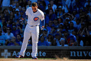 Anthony Rizzo #44 of the Chicago Cubs slams his helmet to the ground after striking out against the Cincinnati Reds to end the seventh inning at Wrigley Field on September 16, 2018 in Chicago, Illinois.