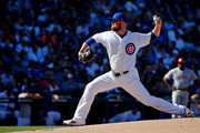 Jon Lester #34 of the Chicago Cubs pitches against the Cincinnati Reds during the first inning at Wrigley Field on September 15, 2018 in Chicago, Illinois.
