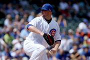 Jon Lester #34 of the Chicago Cubs pitches in the first inning against the Cincinnati Reds at Wrigley Field on August 17, 2017 in Chicago, Illinois.