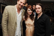 """Actors Jeff Daniels, Emma Stone, and Kieran Culkin attend the Cinema Society with UGG & Suffolk County Film Commission's after party for """"Paper Man"""" at the Crosby Street Hotel on April 5, 2010 in New York City."""