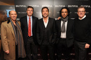 """Producer Jon Kilik, Roadside Attractions co-president Eric d'Arbeloff, actor Javier Bardem, director Alejandro Gonzalez Inarritu, and executive producer David Linde attend a screening of """"Biutiful"""" hosted by the Cinema Society with Miuccia Prada, Sandra Brant & Ingrid Sischy at the Lighthouse Theater on December 1, 2010 in New York City."""