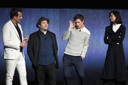 (L-R) Actors Will Arnett, Dan Fogler, Eddie Redmayne and Katherine Waterston speak onstage during CinemaCon 2018 Warner Bros. Pictures Invites You to ?The Big Picture?, an Exclusive Presentation of our Upcoming Slate at The Colosseum at Caesars Palace during CinemaCon, the official convention of the National Association of Theatre Owners, on April 24, 2018 in Las Vegas, Nevada.