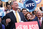 Democratic mayoral nominee Bill de Blasio (L) laughs with Christine Quinn (2nd R), New York City Council Speaker and former mayoral hopeful, at a news conference where Quinn endorsed de Blasio outside City Hall on September 17, 2013 in New York City. De Blasio will face Republican Joseph Lhota in the general mayoral election November 5, 2013, with the winner succeeding current Mayor Michael Bloomberg.