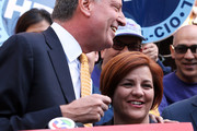 Christine Quinn (R), New York City Council Speaker and former mayoral hopeful, smiles with Democratic Party nominee Bill de Blasio (L), at a news conference where Quinn endorsed de Blasio outside City Hall on September 17, 2013 in New York City. De Blasio will face Republican Joseph Lhota in the general mayoral election November 5, 2013, with the winner succeeding current Mayor Michael Bloomberg.
