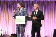 Nicholas D. Lowry and chef Eric Ripert speak onsatge during City Harvest's 22nd Annual an Evening of Practical Magic on April 12, 2016 in New York City.