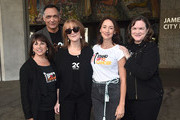 "Sue Schwartz, Jimmy Smits, Rusty Robertson, Bree Turner and Kathleen Lobb attend a ceremony Proclaiming September 7, 2018 as official ""Step Up To Cancer"" Day In Los Angeles at Los Angeles City Hall on August 29, 2018 in Los Angeles, California."