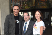 "Jimmy Smits, Los Angeles City Councilmember Paul Koretz and Bree Turner attend a ceremony Proclaiming September 7, 2018 as official ""Step Up To Cancer"" Day In Los Angeles at Los Angeles City Hall on August 29, 2018 in Los Angeles, California."