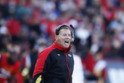 Head coach Randy Edsall of the Maryland Terrapins looks on against the Clemson Tigers during the first half of the game at Byrd Stadium on October 26, 2013 in College Park, Maryland.