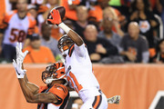 Justin Gilbert #21 of the Cleveland Browns breaks up a pass intended for Marvin Jones #82 of the Cincinnati Bengals during the second quarter at Paul Brown Stadium on November 5, 2015 in Cincinnati, Ohio.