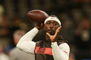 Tyrod Taylor #5 of the Cleveland Browns warms up before the game against the New Orleans Saints at Mercedes-Benz Superdome on September 16, 2018 in New Orleans, Louisiana.