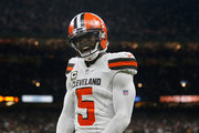 Tyrod Taylor #5 of the Cleveland Browns celebrates after a touchdown during the fourth quarter against the New Orleans Saints at Mercedes-Benz Superdome on September 16, 2018 in New Orleans, Louisiana.