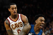 Jordan Clarkson #8 of the Cleveland Cavaliers collides with Jeff Teague #0 of the Minnesota Timberwolves during the fourth quarter of the game on October 19, 2018 at the Target Center in Minneapolis, Minnesota. The Timberwolves defeated the Cavaliers 131-123. NOTE TO USER: User expressly acknowledges and agrees that, by downloading and or using this Photograph, user is consenting to the terms and conditions of the Getty Images License Agreement.