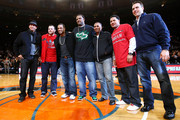 New York Yankees players Alex Rodriguez, Joba Chamberlain, Robinson Cano, C.C Sabbathia, Freddy Guzman, Melky Cabrera and Mark Teixeira pose for a photo on the court during the game between the Cleveland Cavaliers and the New York Knicks at Madison Square Garden November 6, 2009 in New York City. NOTE TO USER: User expressly acknowledges and agrees that, by downloading and/or using this Photograph, User is consenting to the terms and conditions of the Getty Images License Agreement.