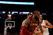 LeBron James #23 of the Cleveland Cavaliers drives past Courtney Lee #5 of the New York Knicks at Madison Square Garden on November 13, 2017 in New York City. NOTE TO USER: User expressly acknowledges and agrees that, by downloading and or using this Photograph, user is consenting to the terms and conditions of the Getty Images License Agreement