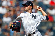 Jaime Garcia #34 of the New York Yankees pitches in the second inning against the Cleveland Indians in the first game of a doubleheader at Yankee Stadium on August 30, 2017 in the Bronx borough of New York City.