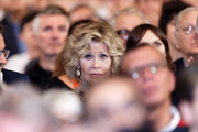 Jane Fonda cries with emotion as she attends closing ceremony At 10th Film Festival Lumiere on October 21, 2018 in Lyon, France.