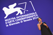 Festival Hostess Luisa Ranieri speaks on stage during the Closing Ceremony of the 71st Venice Film Festival on September 6, 2014 in Venice, Italy.