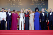 "(L-R) Jury members Chang Chen, Denis Villeneuve, Ava DuVernay, Lea Seydoux, Jury president Cate Blanchett, Jury members Kristen Stewart, Khadja Nin, Robert Guediguian and Andrey Zvyagintsev attends the screening of  ""The Man Who Killed Don Quixote"" and the Closing Ceremony during the 71st annual Cannes Film Festival at Palais des Festivals on May 19, 2018 in Cannes, France."