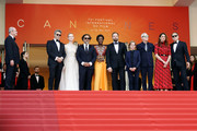 """(L-R) Jury Members of the main competition Pawel Pawlikowski, Elle Fanning, Alejandro Gonzalez Inarritu, Maimouna N'Diaye, Yorgos Lanthimos, Kelly Reichardt, Robin Campillo, Alice Rohrwacher and Enki Bilal attend the closing ceremony screening of """"The Specials"""" during the 72nd annual Cannes Film Festival on May 25, 2019 in Cannes, France."""
