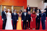 """(L-R) Jury Members of the main competition Pawel Pawlikowski, Elle Fanning, Alejandro Gonzalez Inarritu, Maimouna N'Diaye, Yorgos Lanthimos, Kelly Reichardt, Alice Rohrwacher, Enki Bilal and Robin Campillo attend the closing ceremony screening of """"The Specials"""" during the 72nd annual Cannes Film Festival on May 25, 2019 in Cannes, France."""