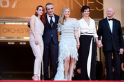 (L-R) Actress Kristen Stewart, director Olivier Assayas, actress Chloe Grace Moretz, Juliette Binoche and Gilles Jacob attend the 'Clouds Of Sils Maria' premiere during the 67th Annual Cannes Film Festival on May 23, 2014 in Cannes, France.