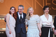 "L-R) Actress Kristen Stewart, director Olivier Assayas, actress Chloe Grace Moretz and actress Juliette Binoche attend the ""Clouds Of Sils Maria"" premiere during the 67th Annual Cannes Film Festival on May 23, 2014 in Cannes, France."
