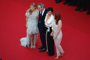 "(L-R) Actress Chloe Grace Moretz, director Olivier Assayas, actress Juliette Binoche and actress Kristen Stewart attend the ""Clouds Of Sils Maria"" premiere during the 67th Annual Cannes Film Festival on May 23, 2014 in Cannes, France."