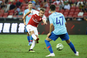 Aaron Ramsey of Arsenal in action during the International Champions Cup 2018 match between Atletico Madrid and Arsenal at the National Stadium on July 26, 2018 in Singapore.