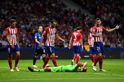 Jan Oblak of Atletico Madrid reacts during the Group A match of the UEFA Champions League between Club Atletico de Madrid and Club Brugge at Estadio Wanda Metropolitano on October 3, 2018 in Madrid, Spain.