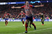 Diego Godin of Atletico Madrid celebrates after scoring his team's second goal during the UEFA Champions League Round of 16 First Leg match between Club Atletico de Madrid and Juventus at Estadio Wanda Metropolitano on February 20, 2019 in Madrid, Spain.